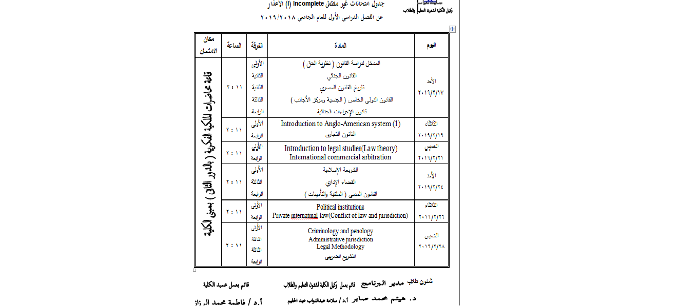 incomplete exams table